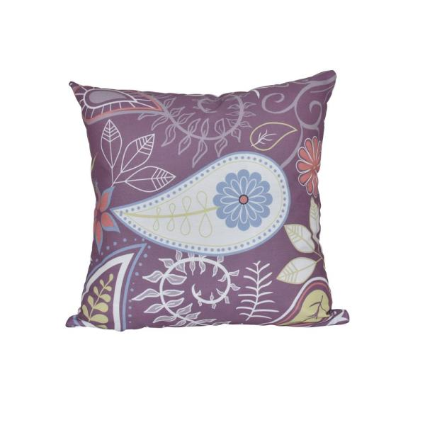 Purple Paisley Floral Print Throw Pillow