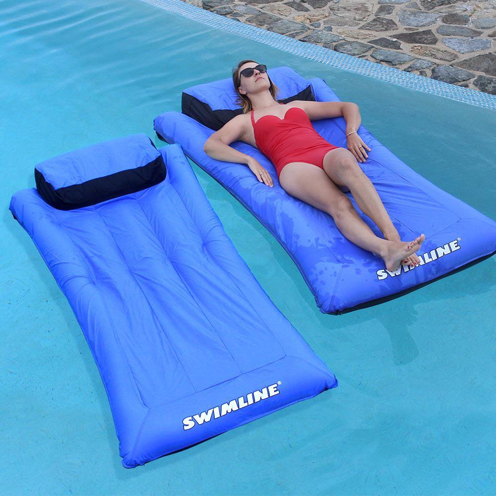 "2Pk Swimline 79/""L x 65/""W Swimming Pool Lake Face-2-Face 2 Person Lounger Float"