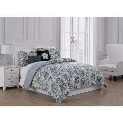 Carlotta 6-Piece Black/Ivory Queen Comforter Set