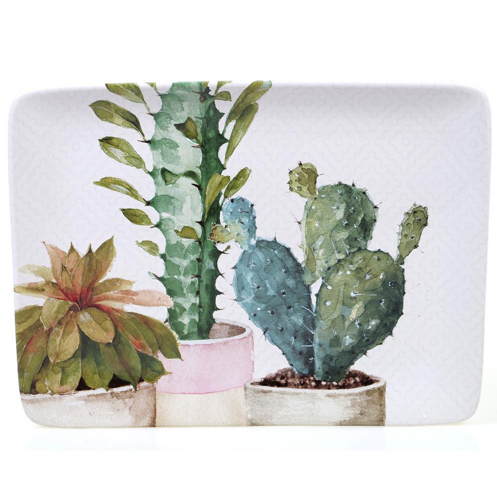 Cactus Verde Ceramic Rectangular Platter
