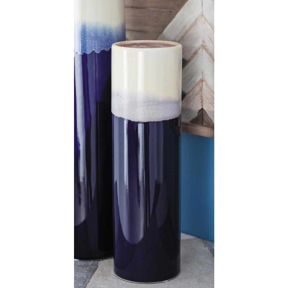 14 in.  Blue and White Gradient Ceramic Decorative Vase