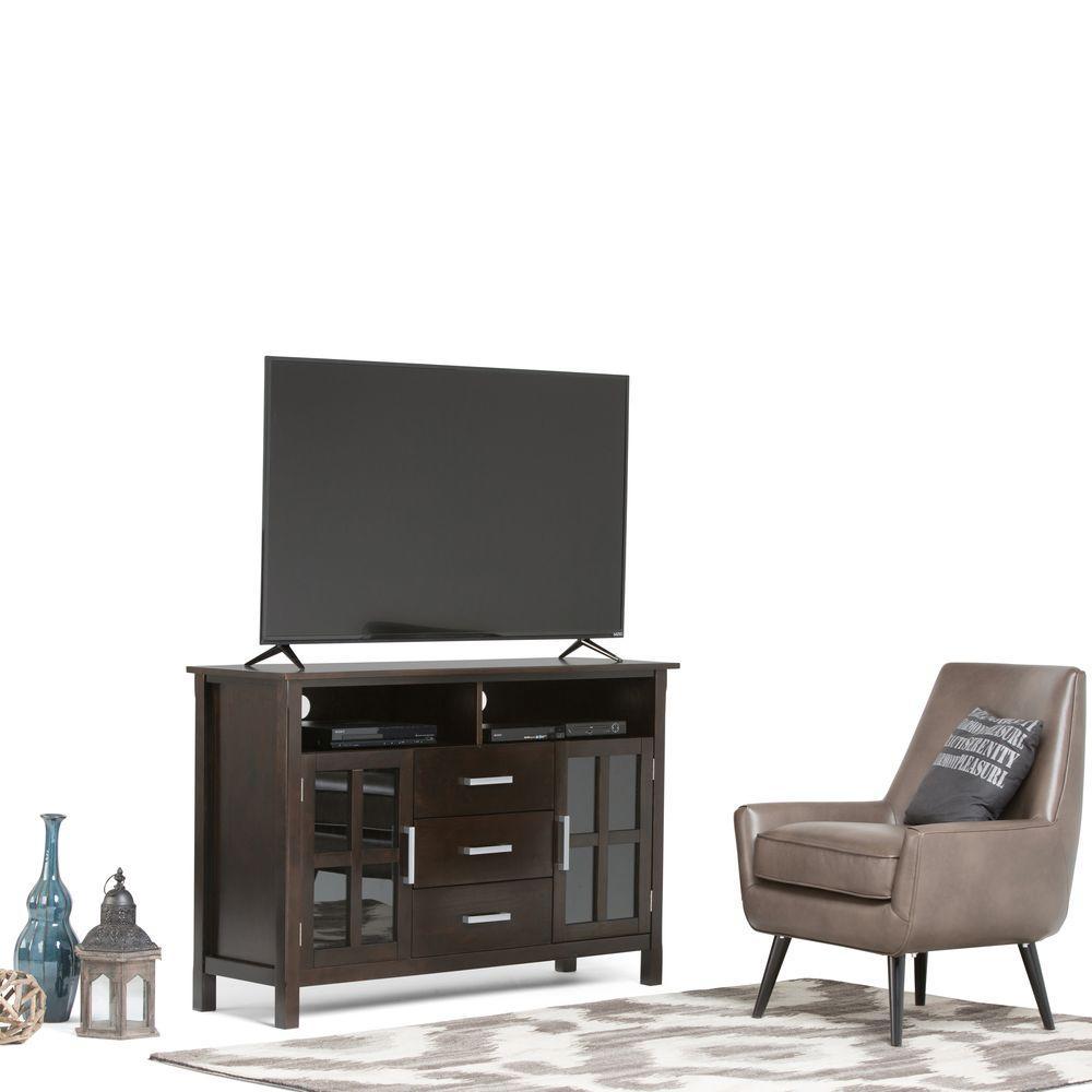 Simpli Home Kitchener Dark Walnut Brown Tall TV Media Stand ...