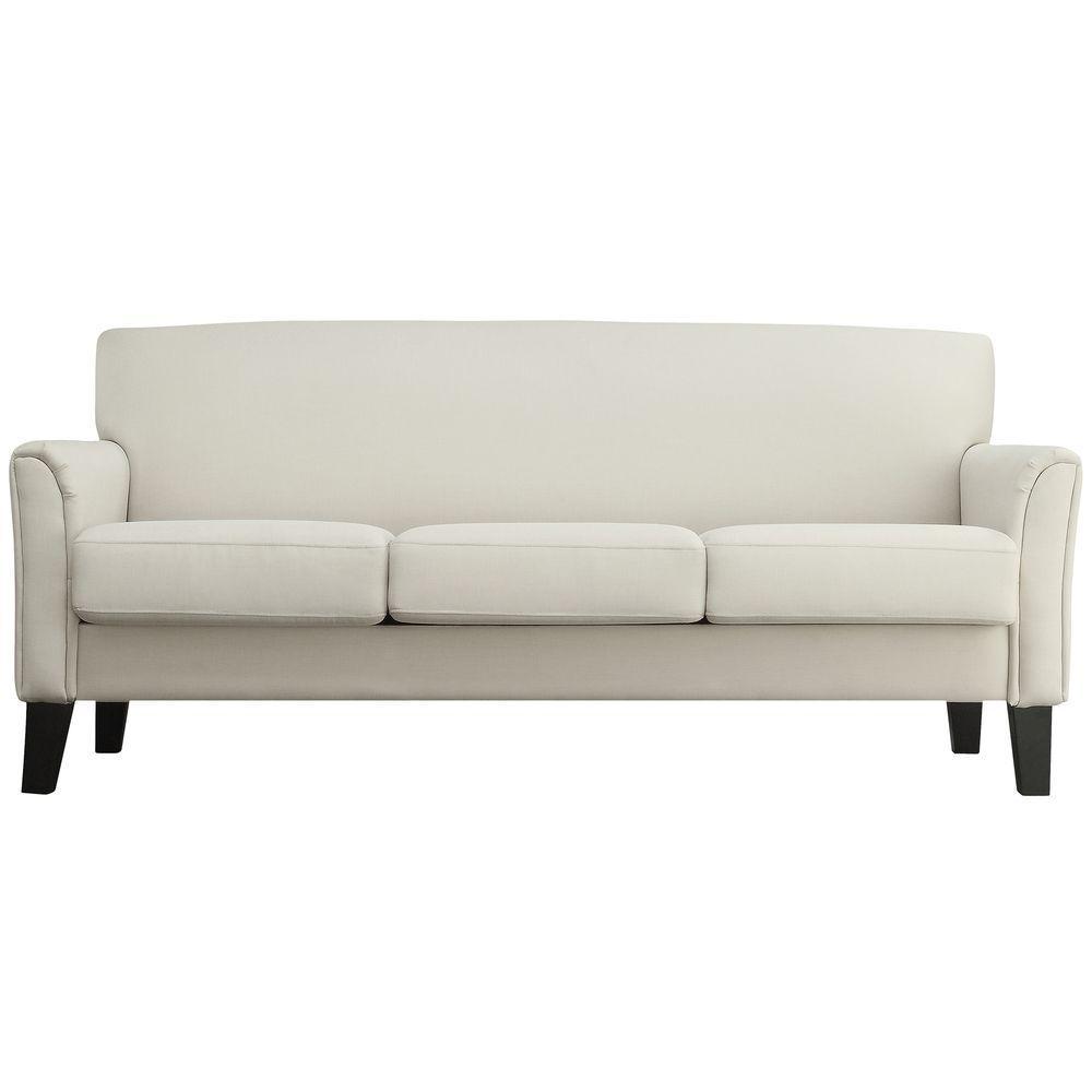 Durham White Linen Sofa