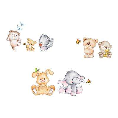 26.4 in. x 37 in. Cute Animals Wall Decal