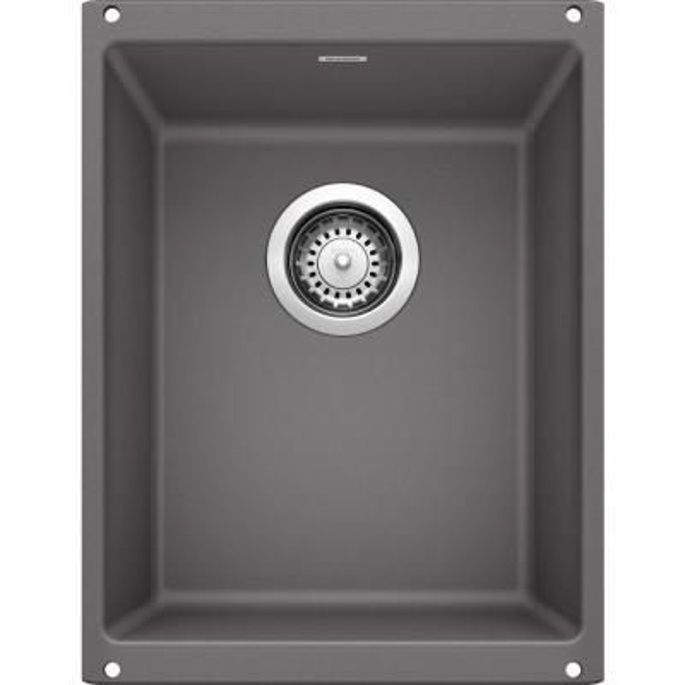 PRECIS Undermount Granite Composite 13.75 in. Single Bowl Bar Sink in Cinder