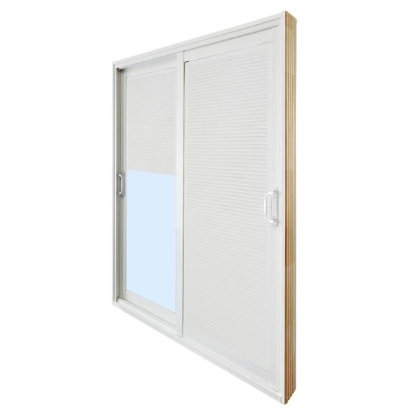 60 in. x 80 in. Double Sliding Patio Door with Internal Mini Blinds