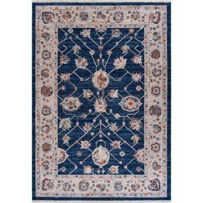 Mirage Navy Blue/Cream 5 ft. 3 in. x 7 ft. 6 in. Distressed Persian Area Rug