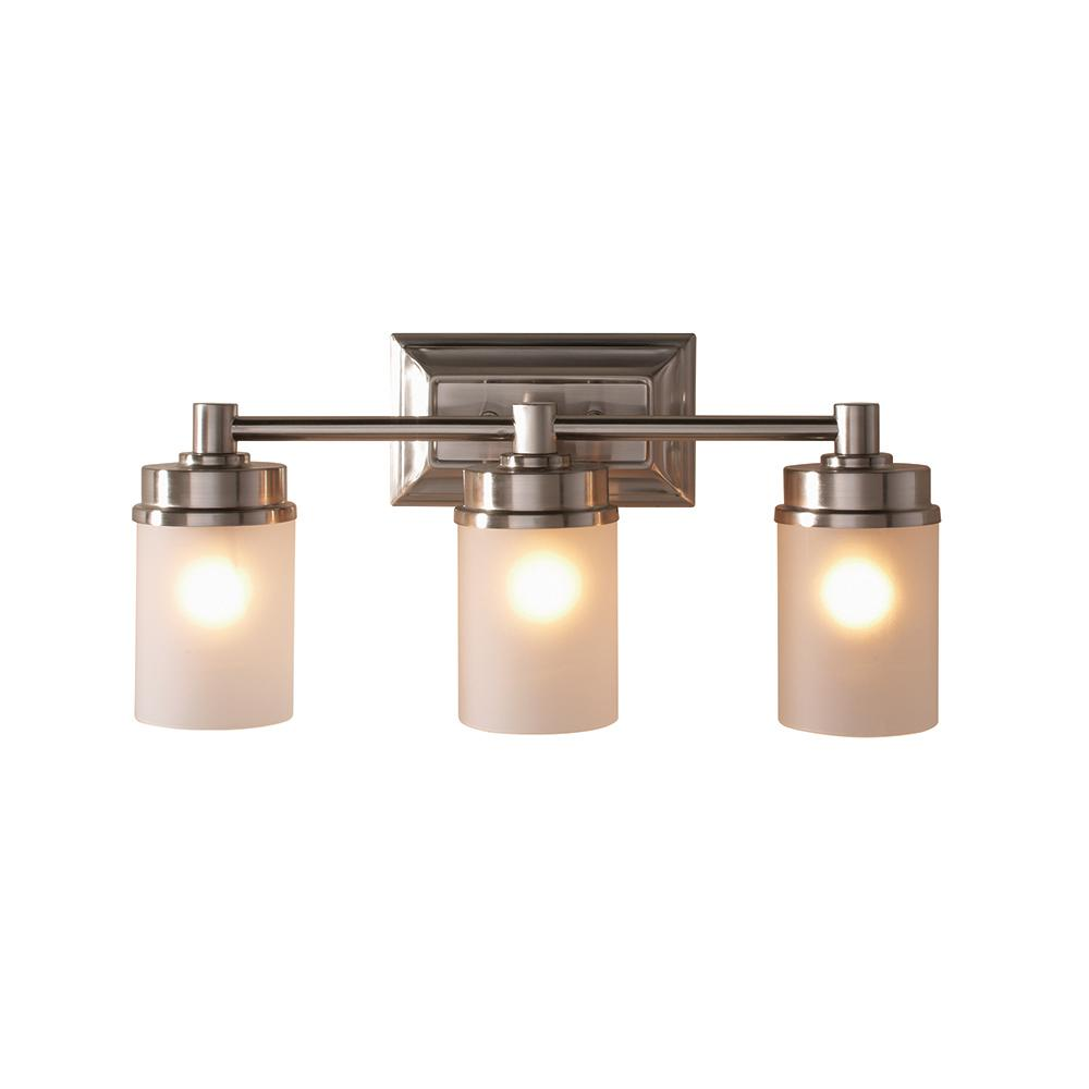Hampton Bay Cade 3 Light Brushed Nickel Vanity Light With Frosted Glass Shades Nb33307 The Home Depot