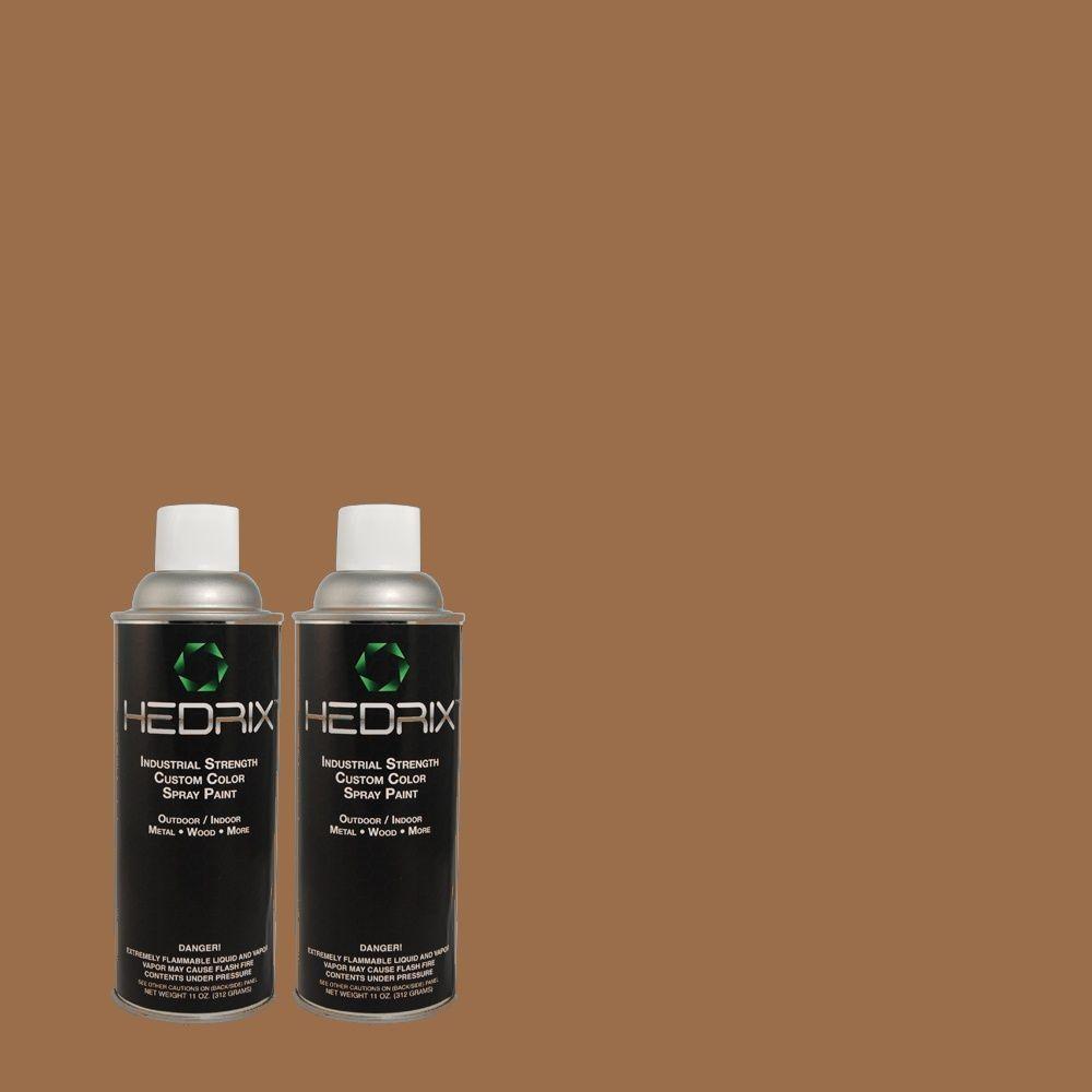 Hedrix 11 oz. Match of MQ2-1 Burnished Brandy Flat Custom Spray Paint (2-Pack)