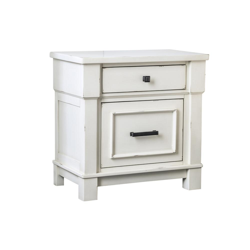 Abrams 2-Drawer Antique White Nightstand