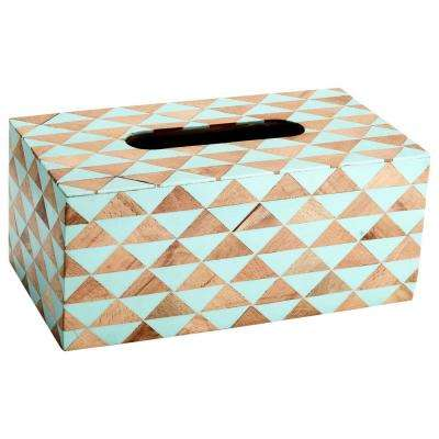 Mosaic Tissue Box Cover in Sky Blue and Brown