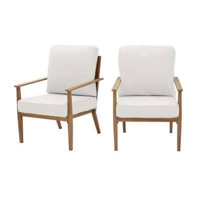 Alderton Brown Steel Outdoor Patio Lounge Chair with CushionGuard Chalk White Cushions (2-Pack)