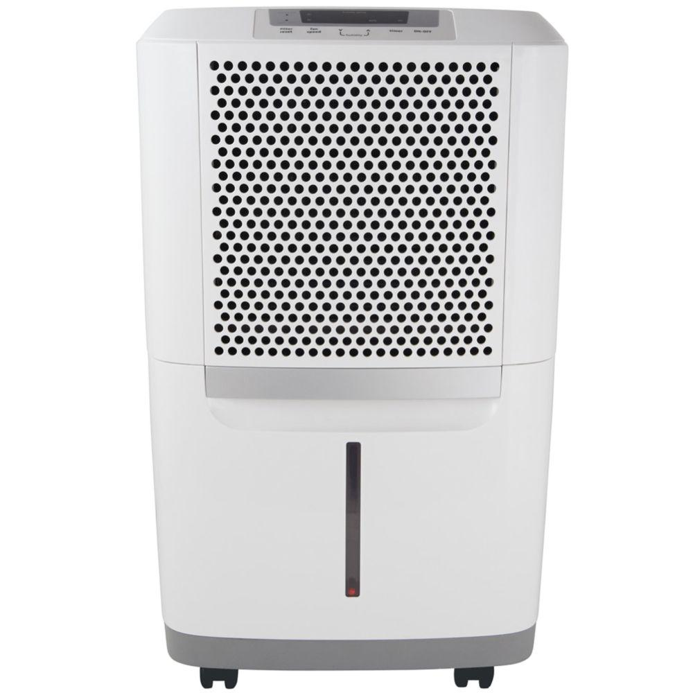 Frigidaire 70 Pt. Dehumidifier, Whites The Frigidaire 70 Pt. Capacity Dehumidifier allows you to control the relative humidity in the room with Effortless Humidity Control. The washable antibacterial filter protects your home from mold and mildew caused by excess moisture and helps eliminate airborne bacteria that can make breathing difficult. Plus, the portable design with casters and top and side handles makes it easy to move the unit from room to room. Color: Whites.