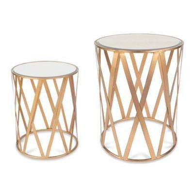 Katrine Clifton Drum Brushed Antique Gold Table Set