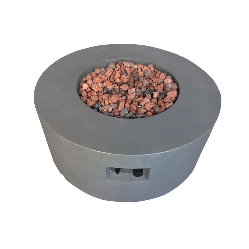 Venice 34 in. Dia Round Concrete Natural Gas Fire Table in Dark Gray