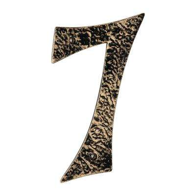 Hammered 6 in. Antique Brass House Number 7