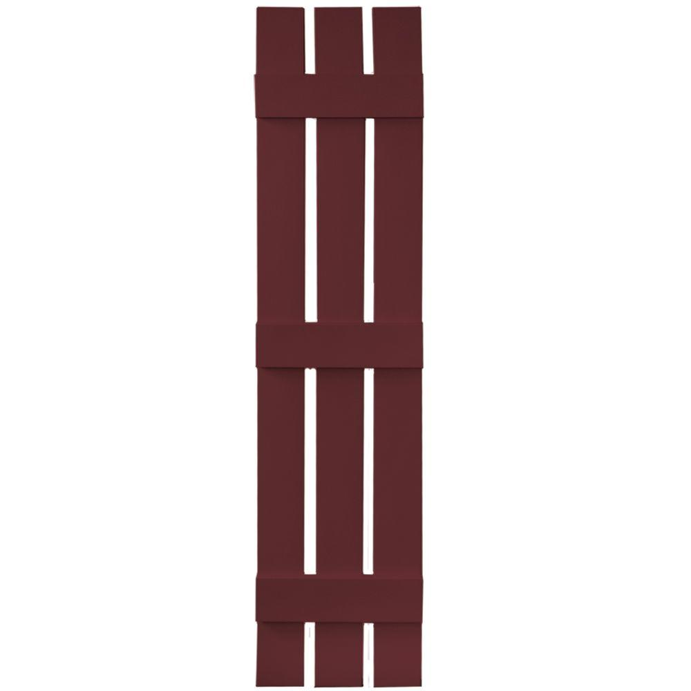 Builders Edge 12 in. x 55 in. Board-N-Batten Shutters Pair, 3 Boards Spaced #078 Wineberry