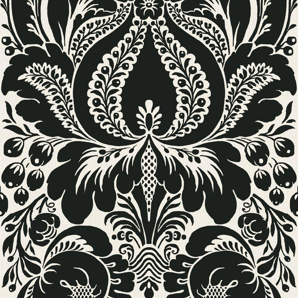The Wallpaper Company 56 sq. ft. Black And Platinum Large Scale Damask Wallpaper
