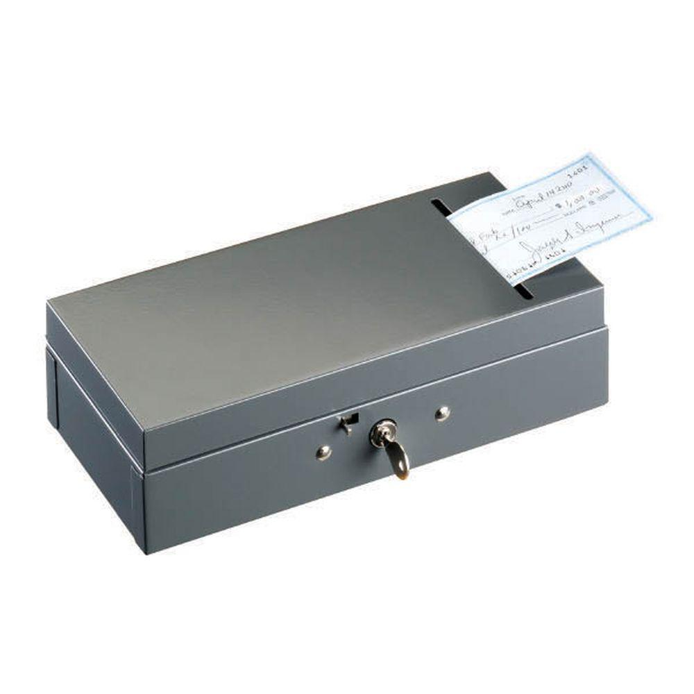 Steel Currency Bond Valuables Box safe with Check Slot in Grey