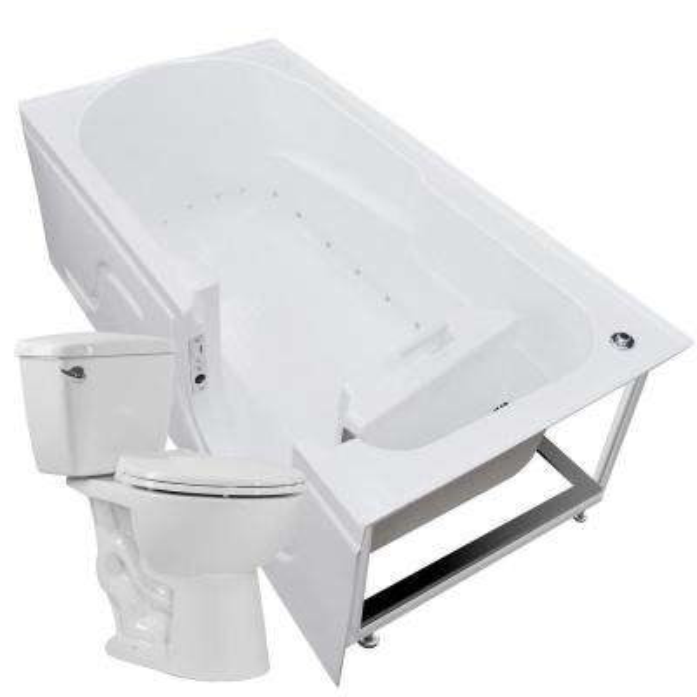 Nova Heated 60 in. Walk-In Air Bath Tub in White with 1.28 GPF Single Flush Toilet