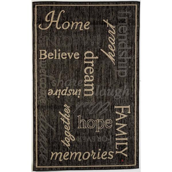 FW Collection Home Family Black 9 ft. x 12 ft. Polypropylene Indoor/Outdoor Area Rug