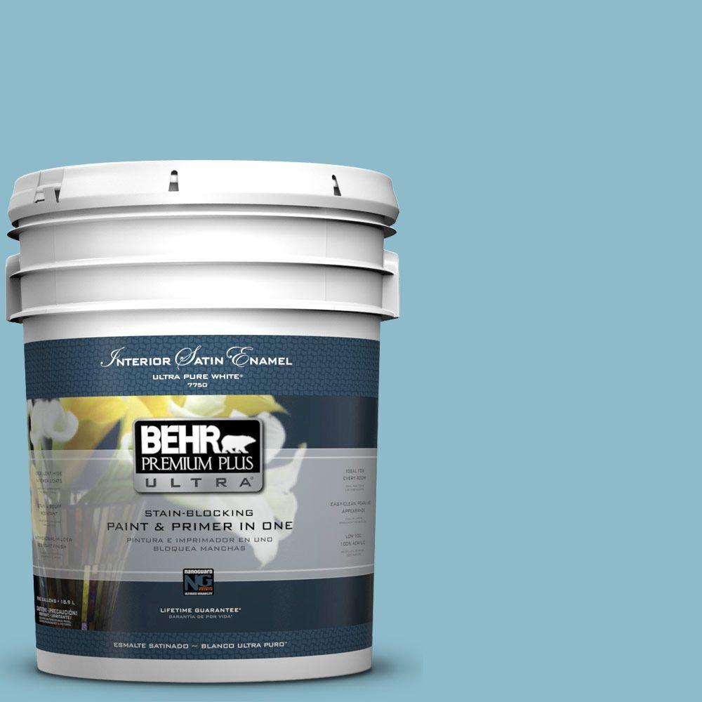 BEHR Premium Plus Ultra 5-gal. #S460-3 Blue Echo Satin Enamel Interior Paint