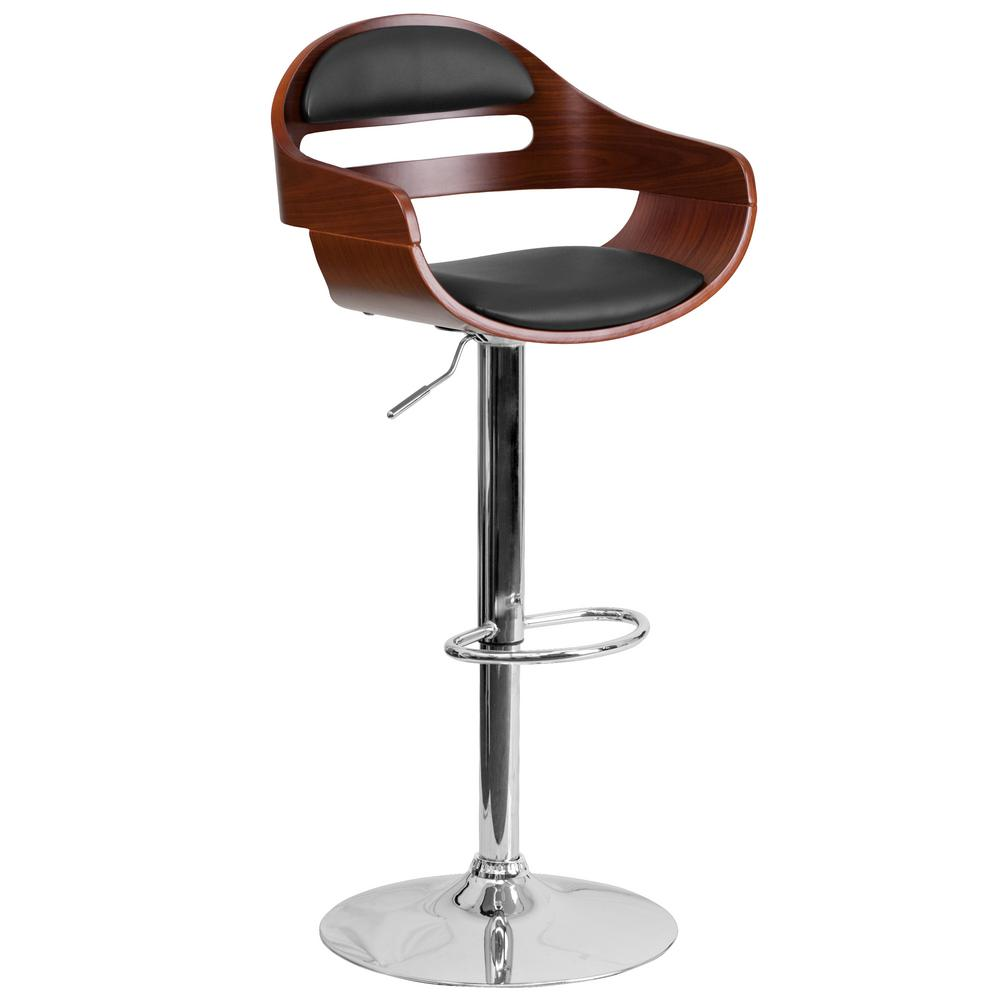Flash Furniture Bentwood Adjustable Height Chrome And Walnut Cushioned Bar  Stool