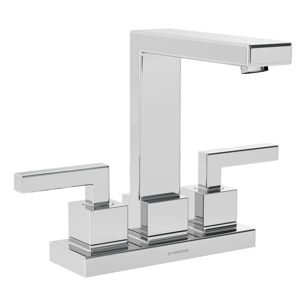 Symmons Duro 4 in. Centerset 2-Handle Bathroom Faucet with Drain Assembly in Chrome
