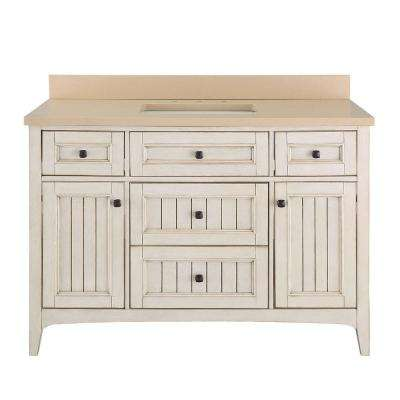 Klein 49 in. W x 22 in. D Bath Vanity in Antique White with Quartz Vanity Top in Beige