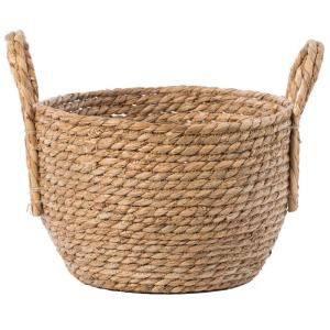 Decorative Round Small Wicker Woven Rope Storage Blanket Basket with Braided Handles