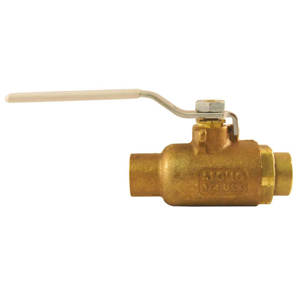 Apollo 3/4 in. Bronze SWT x SWT Industrial Ball Valve Solder Lead Free