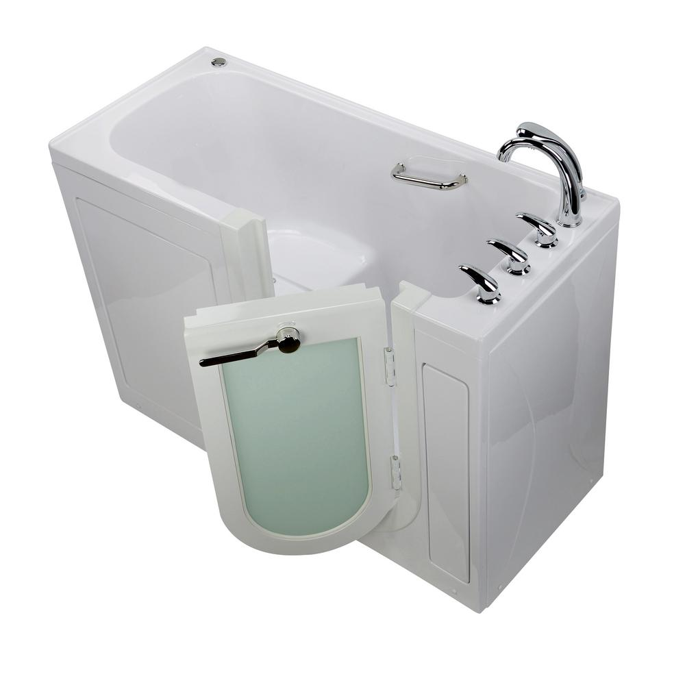 Ella Lounger 60 in. Acrylic Walk-In Soaking Bathtub in White with Fast Fill Faucet and Right 2 in. Dual Drain