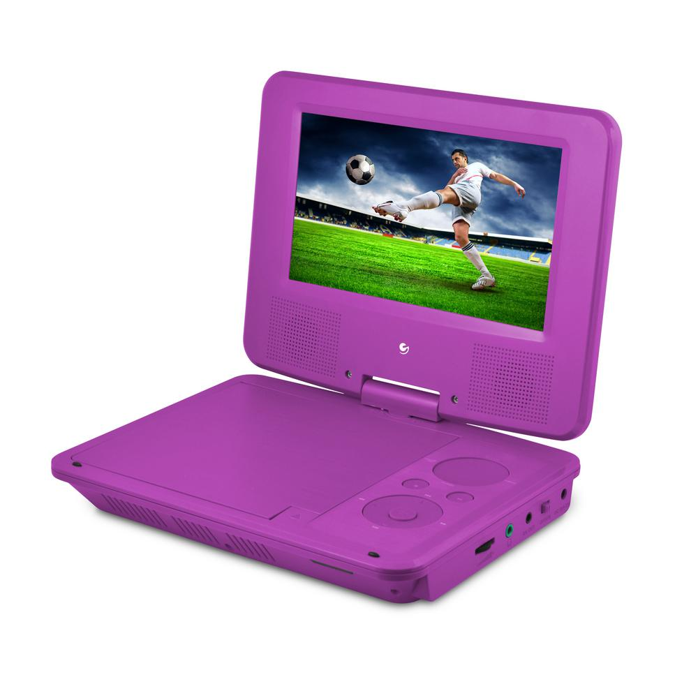 ematic 7 in portable dvd player with colored headphones and carrying case epd707pr the home depot. Black Bedroom Furniture Sets. Home Design Ideas