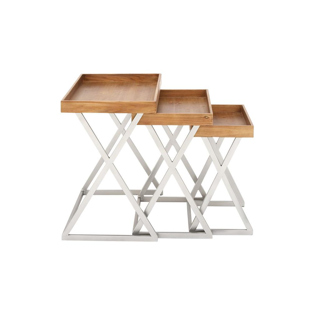 Brown Tray Tables with Silver X-Shaped Legs (Set of 3)  sc 1 st  The Home Depot & Brown Tray Tables with Silver X-Shaped Legs (Set of 3)-98133 - The ...