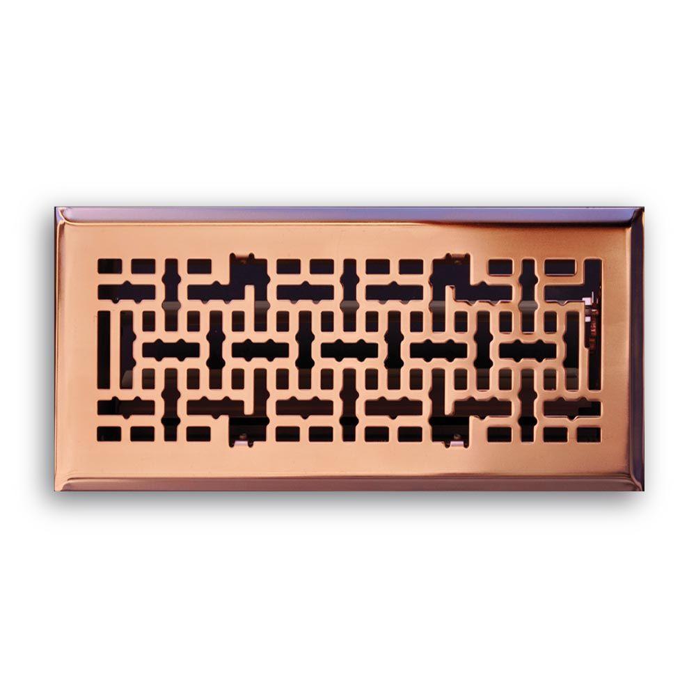 4 in. x 10 in. Modern Contempo Floor Diffuser, Copper