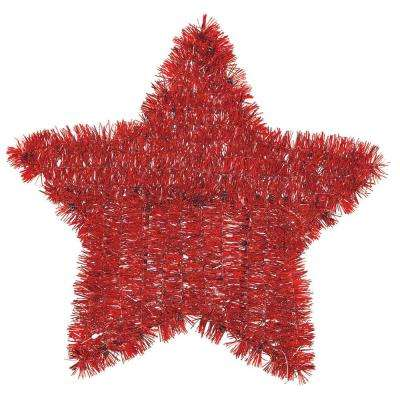 11.5 in. x 12 in. Red Tinsel Star Decoration (6-Pack)