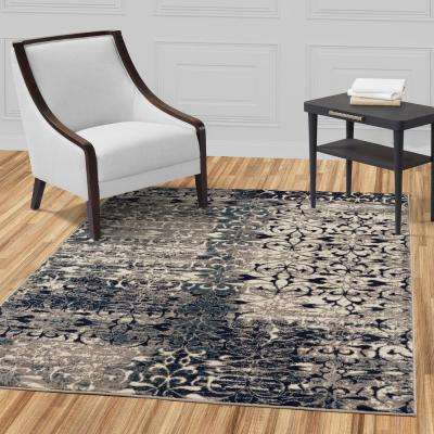 Jasmin Collection Floral Design Ivory and Navy 8 ft. x 10 ft. Area Rug