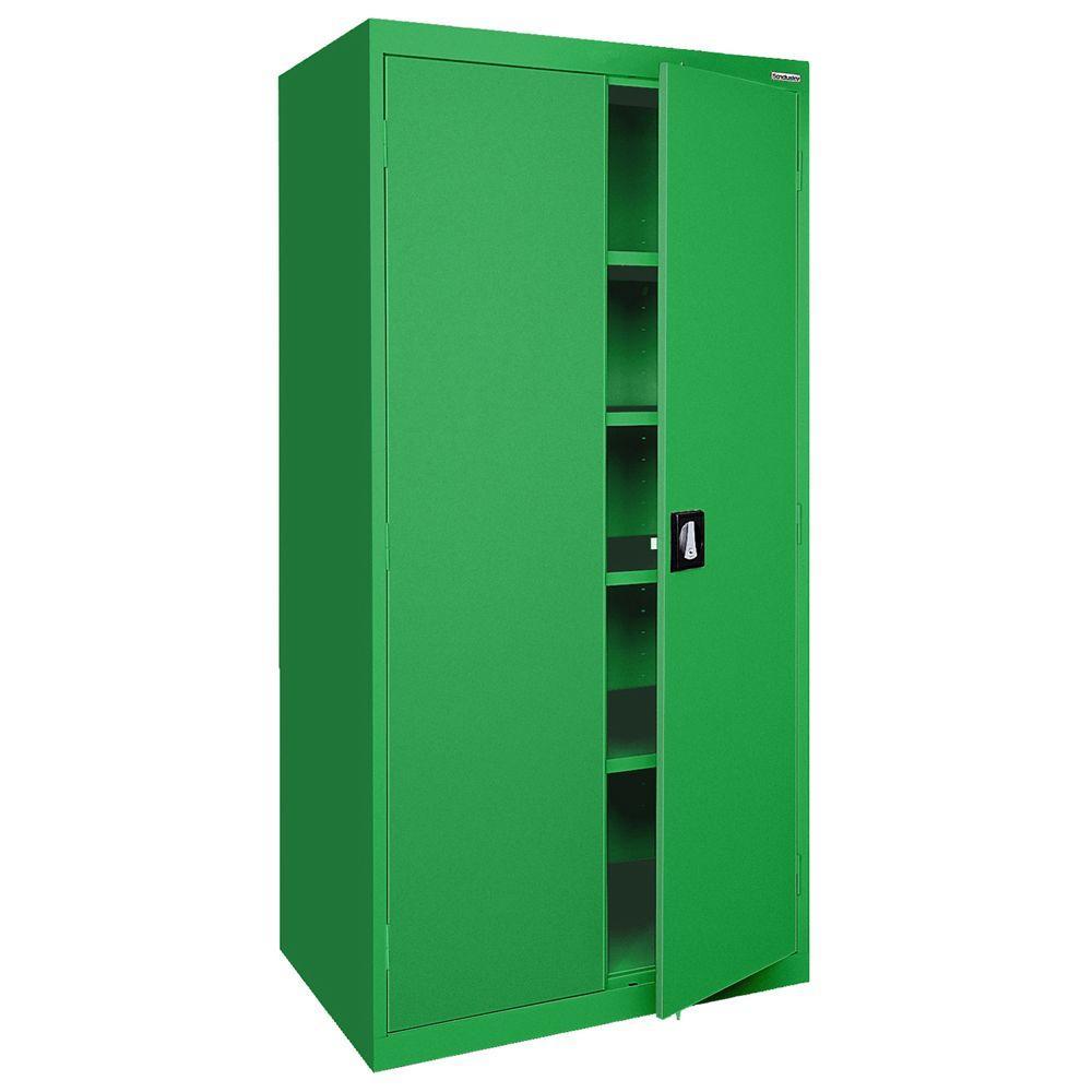 Sandusky Elite Series 5-Shelf Steel Recessed Handle Storage Cabinet in Primary Green