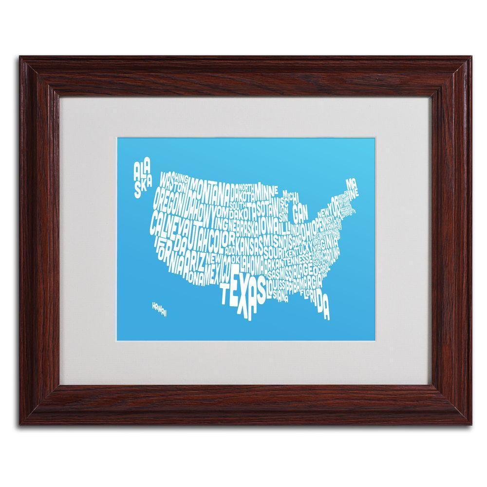 11 in. x 14 in. USA States Text Map - Azul