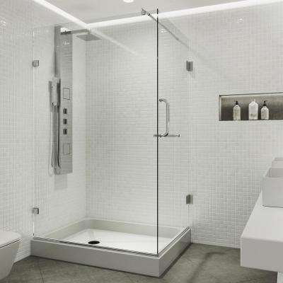 Pacifica 48.125 in. x 79.25 in. Frameless Pivot Shower Enclosure in Chrome with Clear Glass and Left Base