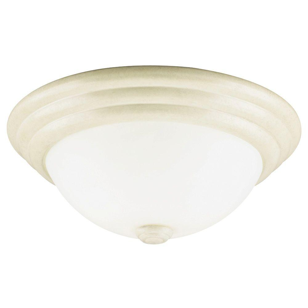 Westinghouse 2-Light Ceiling Fixture Bisque Leaf Interior Flush-Mount with Faux Marbleized Glass