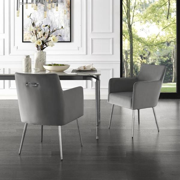 Inspired Home Capelli Light Grey Chrome Velvet Metal Leg Dining Chair Set Of 2 Dc91 02lg2 Hd The Home Depot