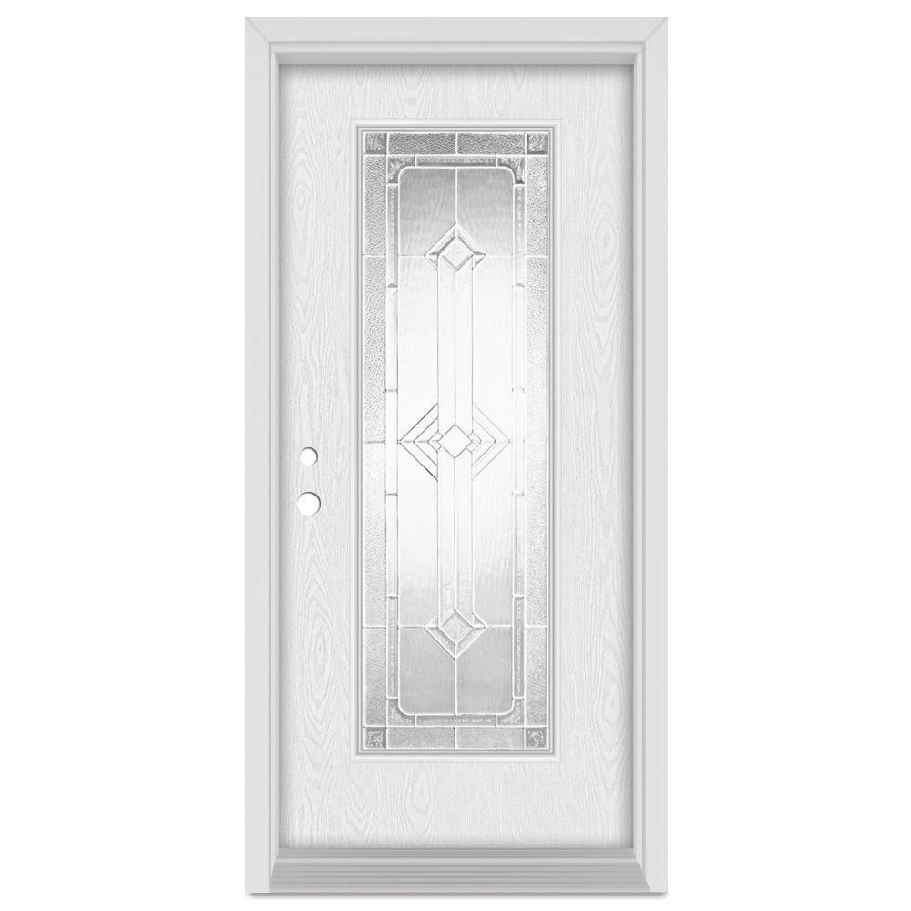 37.375 in. x 83 in. Neo-Deco Right-Hand Full Lite Zinc Finished Fiberglass Oak Woodgrain Prehung Front Door Brickmould