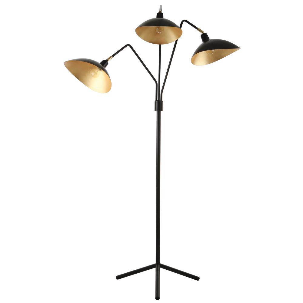 Iris 69.5 in. Black Floor Lamp with Interior Gold Accent Shade
