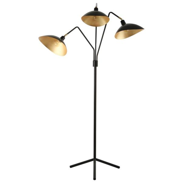 Safavieh Iris 69 5 In Black Floor Lamp With Interior Gold Accent Shade Lit4361b The Home Depot