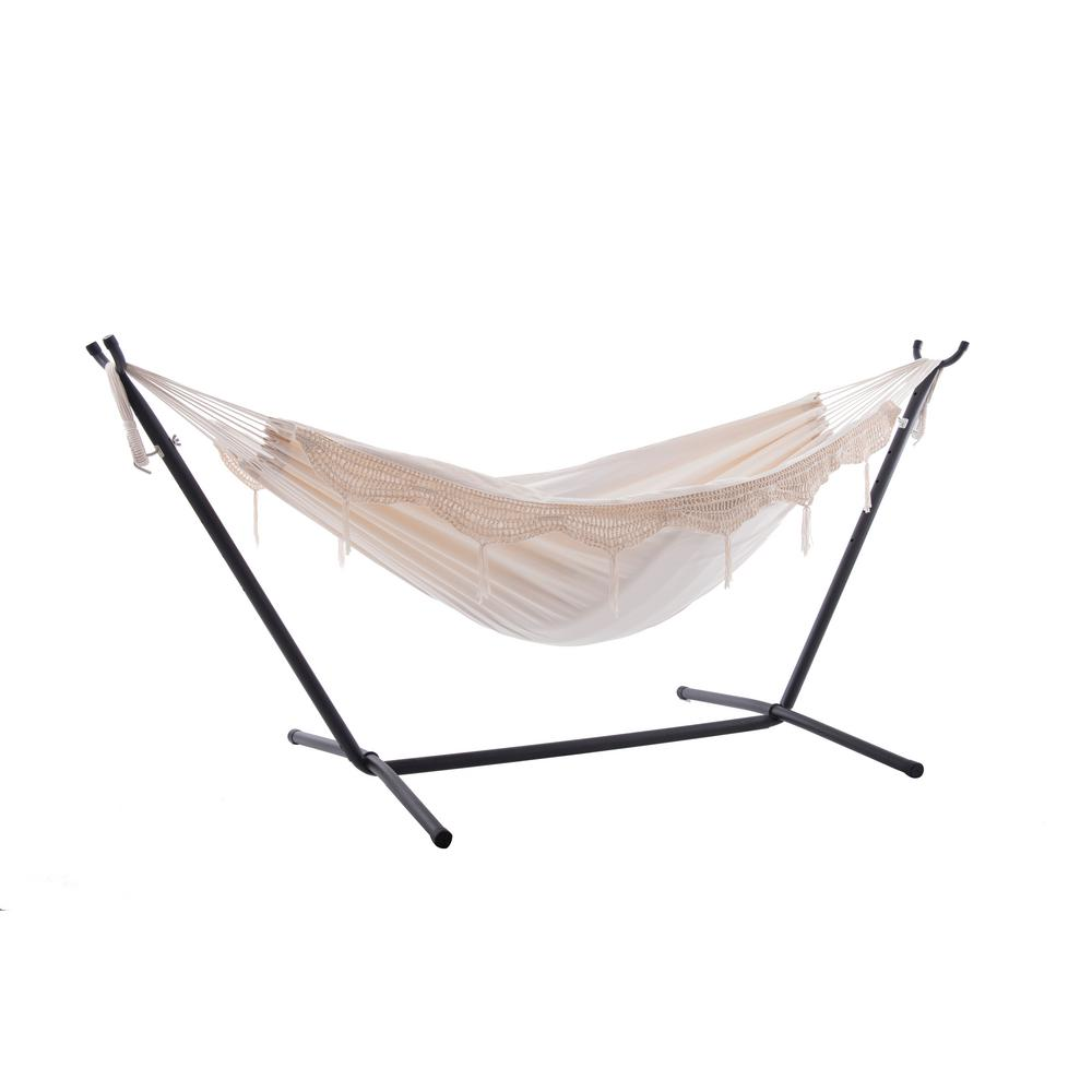 Vivere Vivere 9 ft. Cotton Double Hammock with Stand in Natural with Fringe