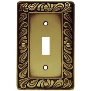 paisley decorative single switch plate tumbled antique brass