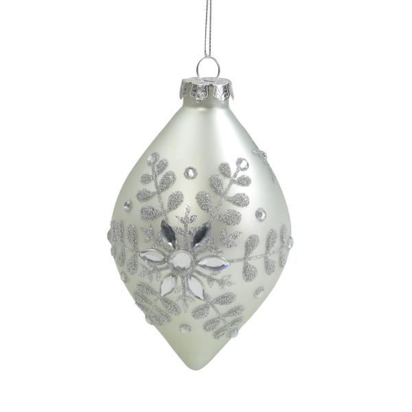 Northlight 6 In Matte Silver Glittery Snowflake Glass Finial Christmas Ornament 33750232 The Home Depot