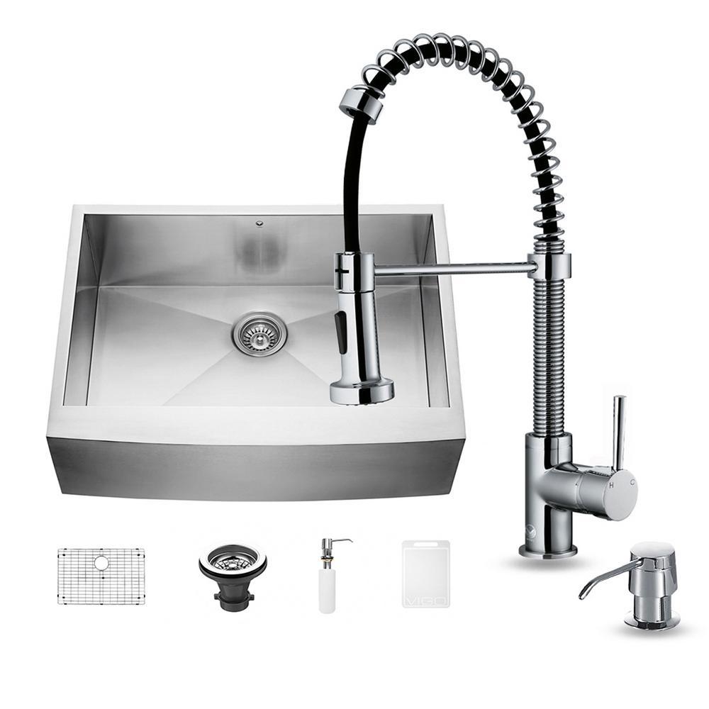 Vigo Camden Farmhouse Single Bowl Kitchen Sink: VIGO All-in-One Farmhouse Apron Front Stainless Steel 30