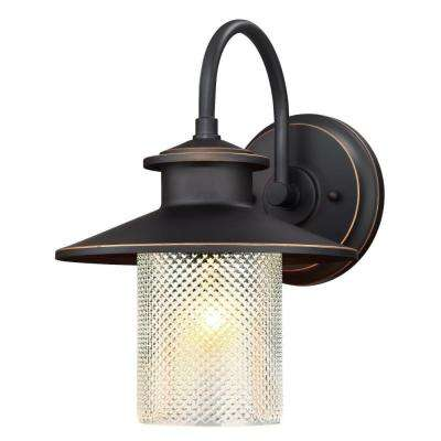 Delmont Oil Rubbed Bronze 1-Light with Highlights Outdoor Wall Mount Lantern